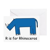 R is for Rhino Greeting Card