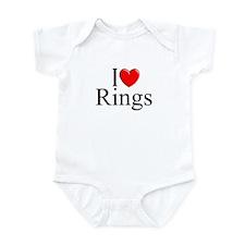"""""""I Love (Heart) Rings"""" Infant Bodysuit"""