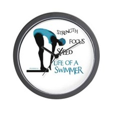 STRENGTH FOCUS SPEED LIFE OF A SWIMMER Wall Clock