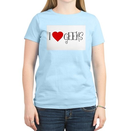I Love [heart] Geeks Womens Pink T-Shirt