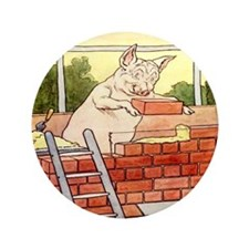 """Pig Handyman/Bricklayer"" 3.5"" Button (100 pack)"