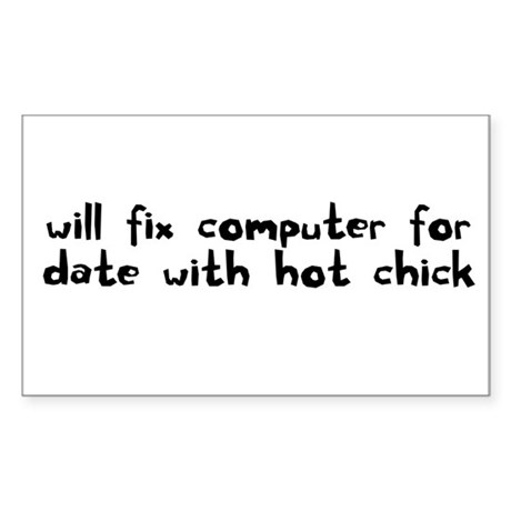 will fix computer for date wi Sticker (Rectangular