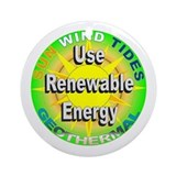 Use Renewable Energy Ornament (Round)