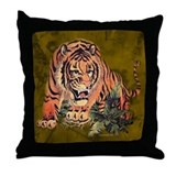 Funny Tiger tiles Throw Pillow
