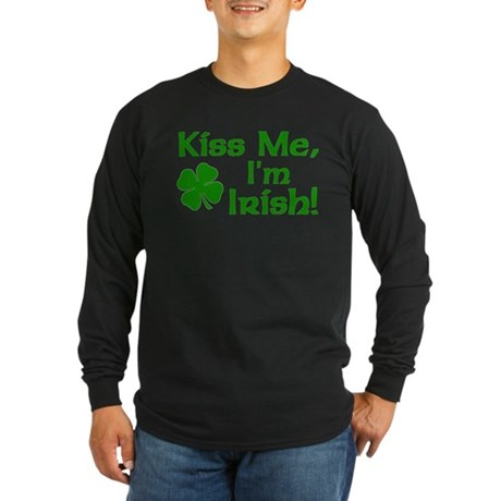 Kiss Me I'm Irish Long Sleeve Dark T-Shirt