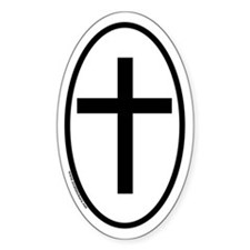 Cross Oval Decal