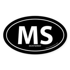 Montserrat country bumper sticker -Black (Oval)