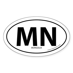 Mongolia country bumper sticker -White (Oval)