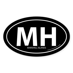 Marshall Islands bumper sticker -Black (Oval)