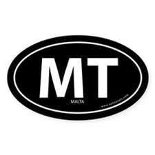 Malta country bumper sticker -Black (Oval)