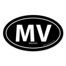 Maldives country bumper sticker -Black (Oval)