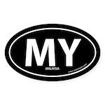 Malaysia country bumper sticker -Black (Oval)
