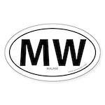 Malawi country bumper sticker -White (Oval)