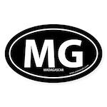 Madagascar country bumper sticker -Black (Oval)