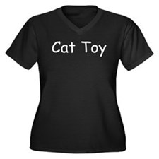 Cat Toy Women's Plus Size V-Neck Dark T-Shirt