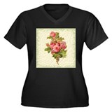 Elegant Roses Women's Plus Size V-Neck Dark T-Shir