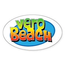 Vero Beach Florida Cartoon Souvenir Oval Decal