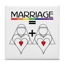 MARRIAGE EQUALS HEART PLUS HE Tile Coaster