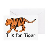 T is for Tiger Greeting Cards (Pk of 20)
