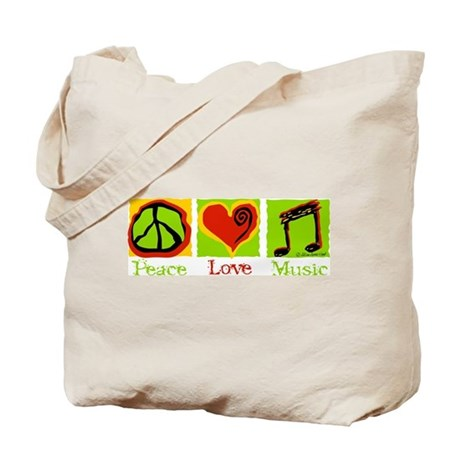 Peace Love Music Tote Bag