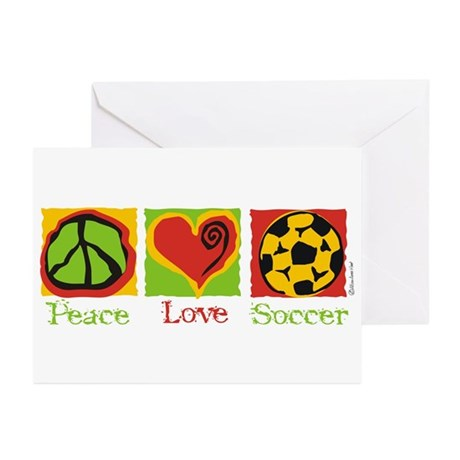Peace Love Soccer Greeting Cards (Pk of 10)
