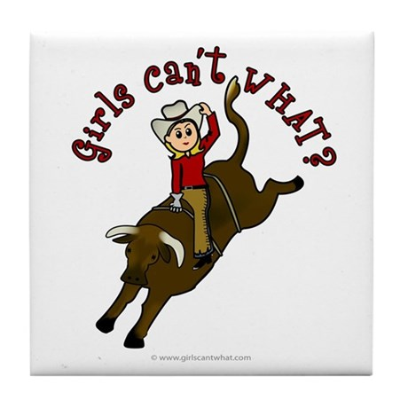 Light Bull Riding Tile Coaster