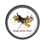 Holiday Airedale Dashing Dog! Wall Clock