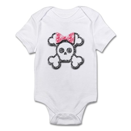 Girl Skull and Crossbones Pink Bow Infant Bodysuit