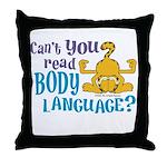Body Language Garfield Throw Pillow