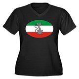 Italian Mod ESK Women's Plus Size V-Neck Dark T-Sh