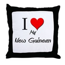 I Love My New Guinean Throw Pillow