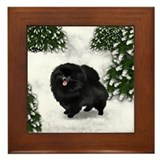 BLACK POMERANIAN DOG SNOW FOREST Framed Tile