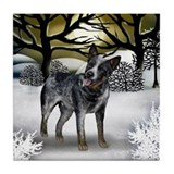 AUSTRALIAN CATTLE DOG WINTER SUNSET Tile Coaster