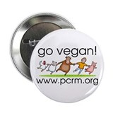 "Go Vegan! Dancing Animals 2.25"" Button"