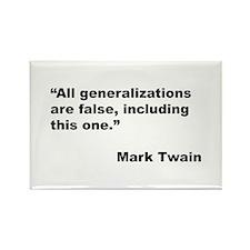 Mark Twain Quote on False Generalizations Rectangl