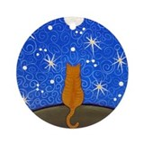 Orange Tabby CAT Starry Night Ornament (Round)