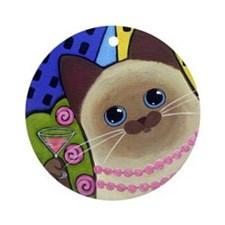 Siamese CAT Kitty in City Ornament (Round)