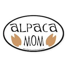 Alpaca Mom Oval (black border) Oval Decal