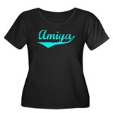 Amiya Vintage (Lt Bl) Women's Plus Size Scoop Neck