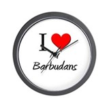 I Love My Barbudans Wall Clock