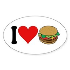 I Love Hamburgers (design) Oval Decal