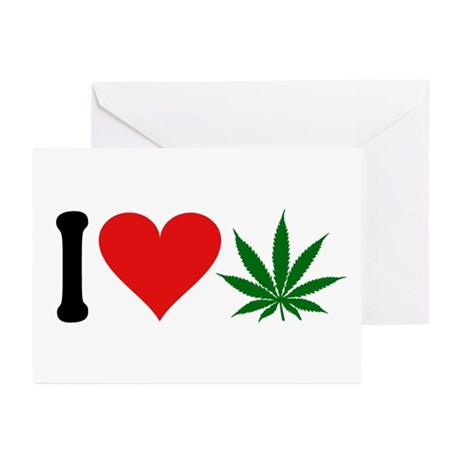I Love Pot (design) Greeting Cards (Pk of 10)