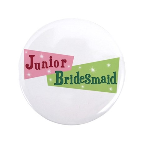 "Retro Junior Bridesmaid 3.5"" Button (100 pack)"