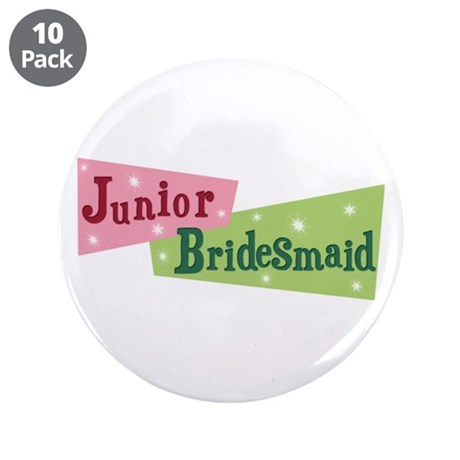 "Retro Junior Bridesmaid 3.5"" Button (10 pack)"