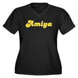 Amiya Fancy (Gold) Women's Plus Size V-Neck Dark T