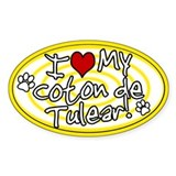 Hypno I Love My Coton De Tulear Oval Sticker Ylw