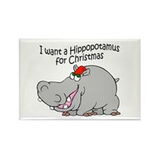 Christmas Hippo BW Rectangle Magnet