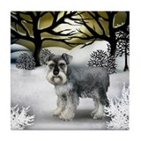 STANDARD SCHNAUZER DOG WINTER SUNSET Tile Coaster