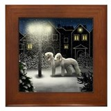 BEDLINGTON TERRIER DOGS SNOW CITY Framed Tile