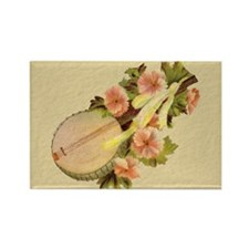 Lute with Flowers Rectangle Magnet (100 pack)